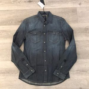 NWT Guess distressed denim chambray button up